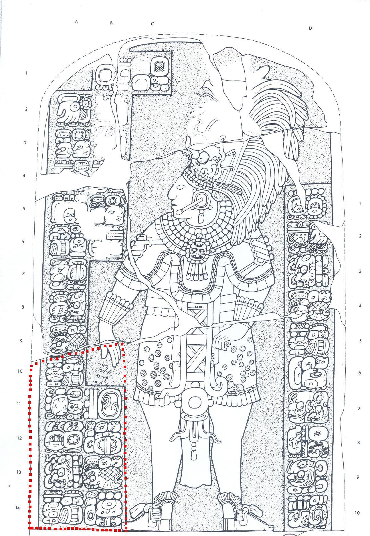 Reproducción de la estela 1 de Aguateca con la que Guatemala prueba que, hasta su depredación en 1992, la pieza estaba íntegra. La parte resaltada con rojo es la que se exhibe en el museo de la familia Tesak.
