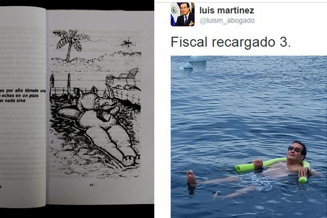 Martínez subió a su Twitter,el 24 de agosto de 2014, una foto de él retozando en una piscina en la que se parece mucho a esta ilustración de