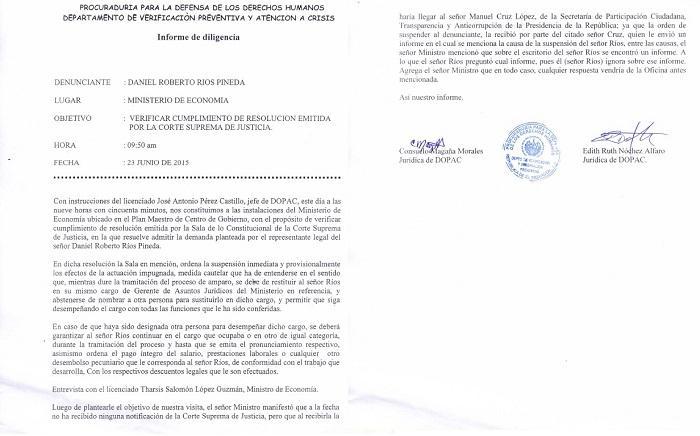 Copia del informe levantado por la PDDH el 23 de junio según el cual el ministro de Economía dice que despidió al gerente de asesoría jurídica por orden de la Secretaría de la Transparencia.