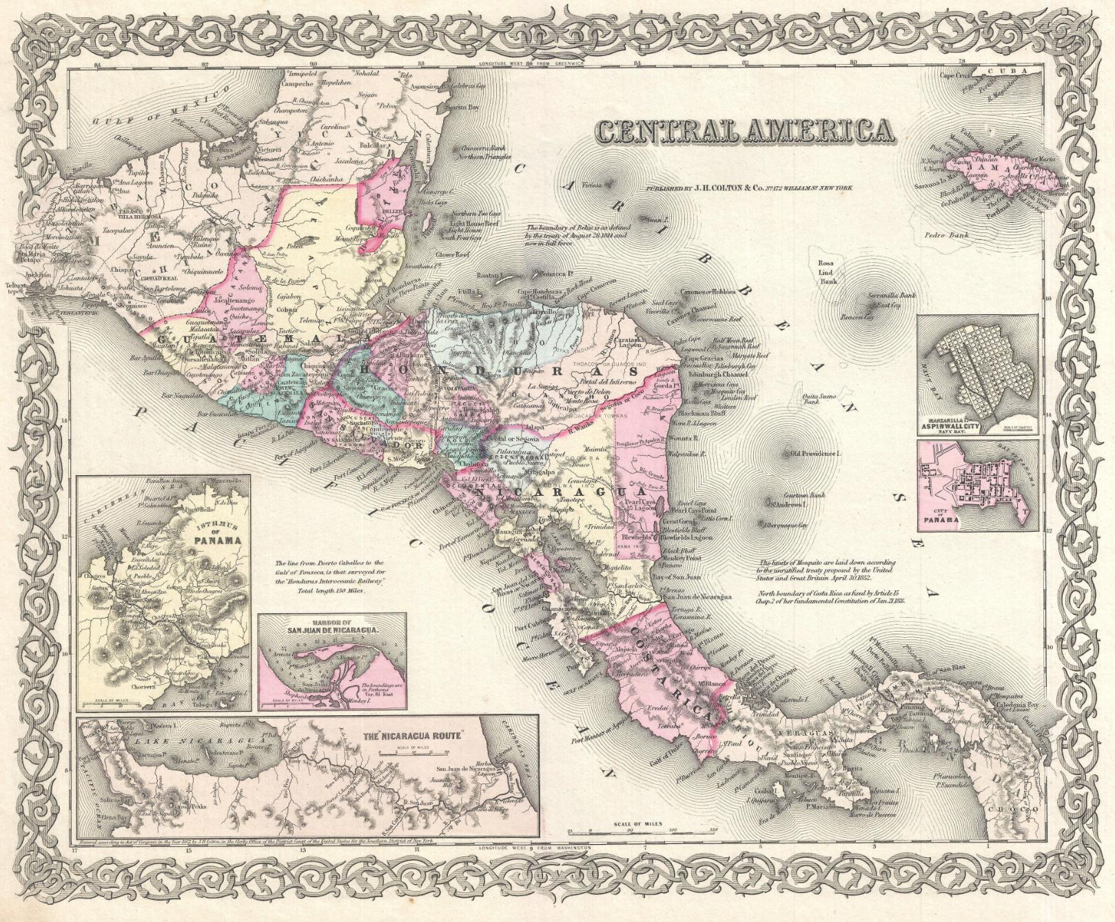 "Mapa histórico de Centroamérica. ""Central America"" en Colton's Atlas Of The World, Illustrating Physical And Political Geography. George W. Colton. (London: Trubner And Company, 1856), página 55."