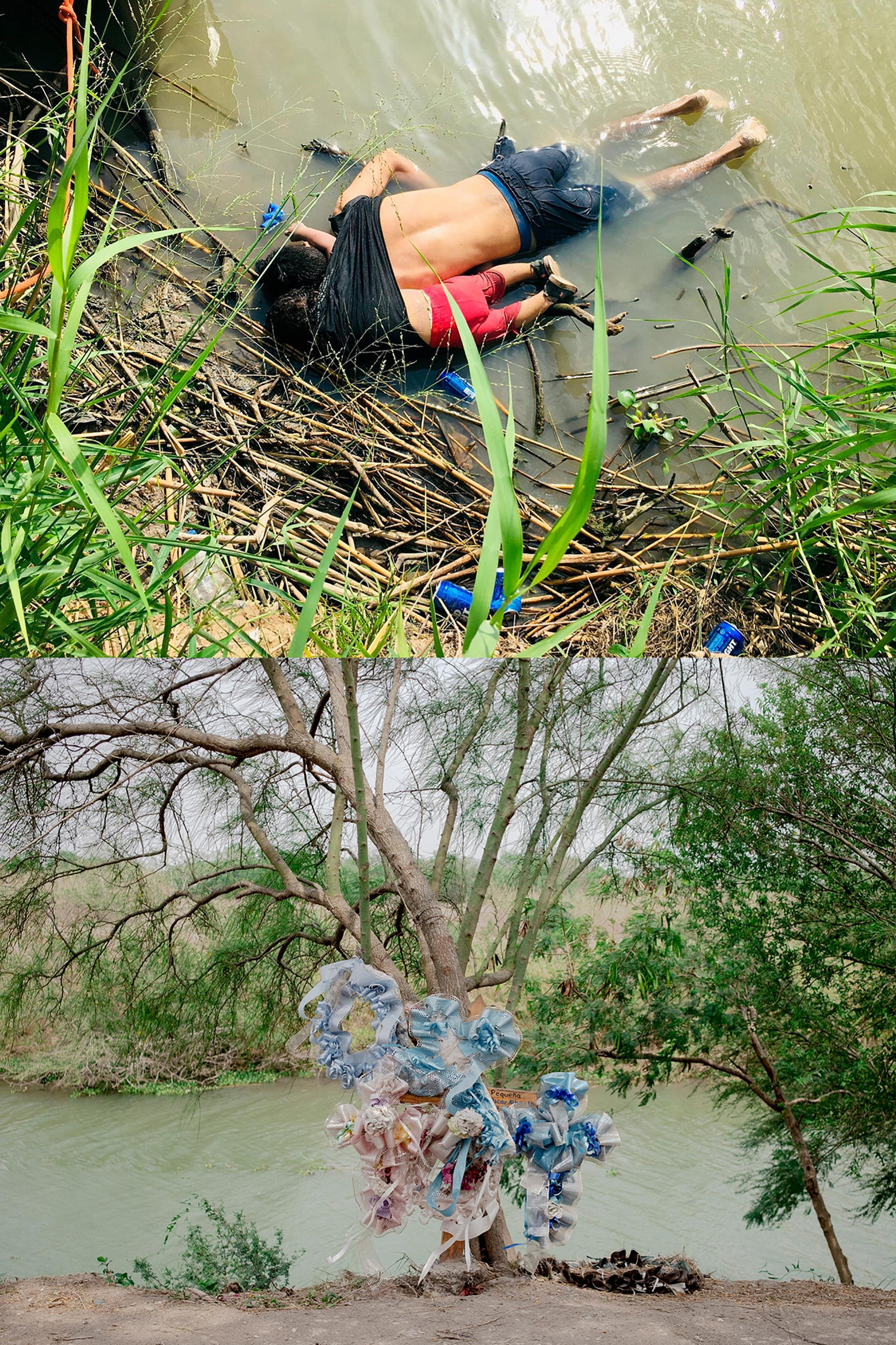 Above, the photograph taken on June 23, 2019 of the bodies of Oscar and Valeria in the Rio Bravo. Photo by AFP. Below, the place as it looks now where the bodies were found.